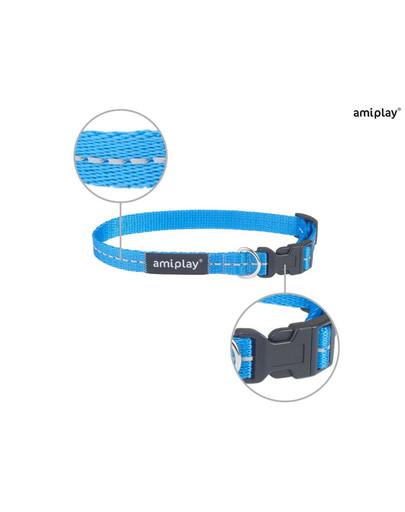 AMIPLAY Obroża reflective s 20-35 / 1 cm niebieska