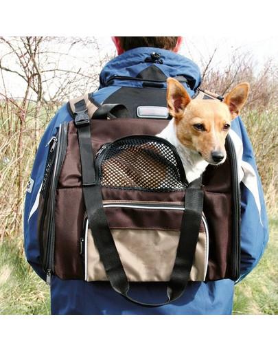 TRIXIE Ruksak na nosenie psa hnedo-béžový