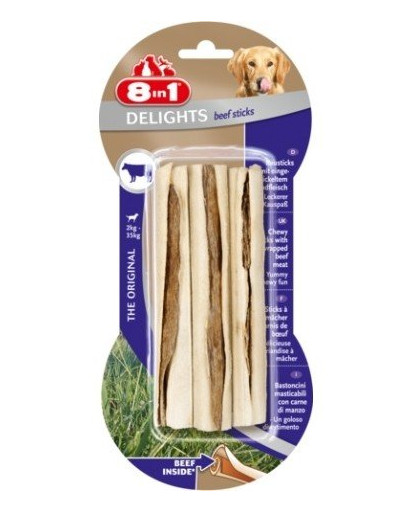 8in1 Maškrta Beef Delights Bone Sticks 3ks
